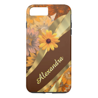 Personalized girly brown flower pattern iPhone 8 plus/7 plus case