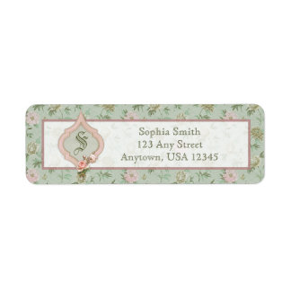 Personalized Girly Chic Green and Pink Floral Return Address Label