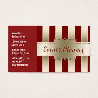 Personalized Girly Gold and Red Glitter Stripes Business Card
