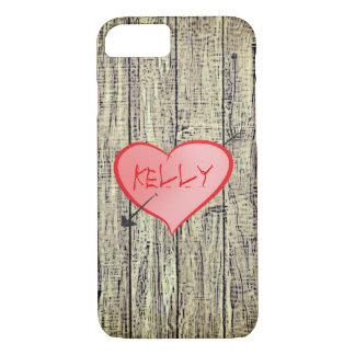 Personalized Girly Heart Cute Wood Fence Kelly iPhone 7 Case