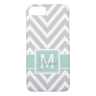 Personalized Girly Mint Green Gray Chevron Pattern iPhone 8/7 Case