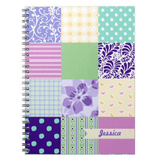 Personalized Girly Pattern Squares Vector Quilt Notebook