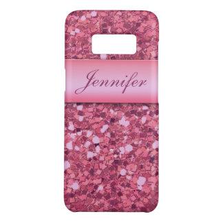 Personalized Girly Pink Glitter Sparkles Name Case-Mate Samsung Galaxy S8 Case