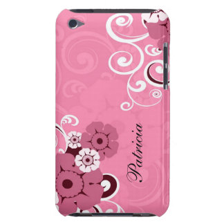 Personalized Girly Pink Swirls And Floral Pattern iPod Touch Covers