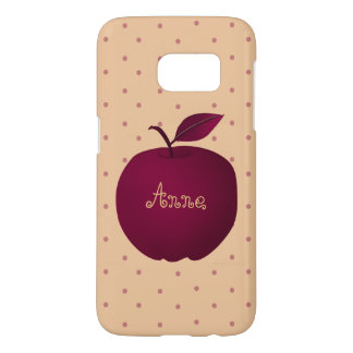 Personalized Girly Purple Apple Pink Polka Dots