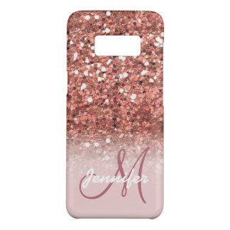 Personalized Girly Rose Gold Glitter Sparkles Name Case-Mate Samsung Galaxy S8 Case