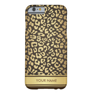 Personalized Glam Leopard Skin Chocolate Gold Barely There iPhone 6 Case