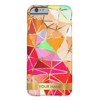 Personalized Glam Pink Rainbow Diamond Vip Gold Barely There iPhone 6 Case