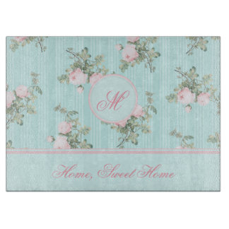 Personalized glass chopping board Shabby chic
