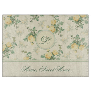 Personalized glass chopping board yellow roses