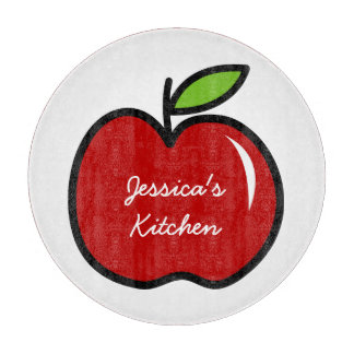 Personalized glass cutting board | Red apple fruit