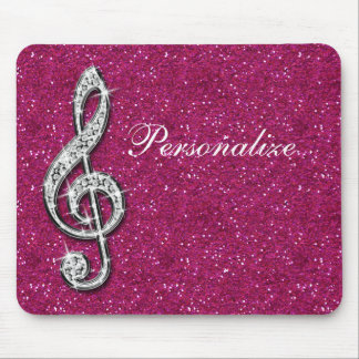 Personalized Glitzy Sparkly Diamond Music Note Mouse Pad