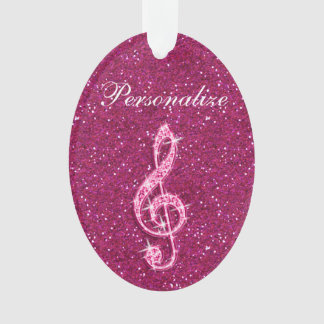 Personalized Glitzy Sparkly Diamond Music Note Ornament