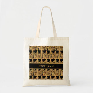 Personalized Gold and Black Art Deco Pattern Budget Tote Bag