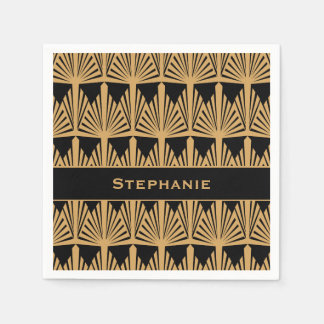 Personalized Gold and Black Art Deco Pattern Disposable Serviette