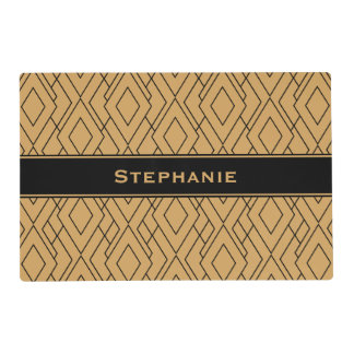Personalized Gold and Black Art Deco Pattern Placemat