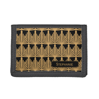 Personalized Gold and Black Art Deco Pattern Tri-fold Wallets