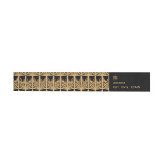Personalized Gold and Black Art Deco Pattern Wraparound Return Address Label