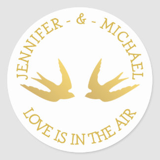 Personalized Gold And White Wedding Love Doves Round Sticker