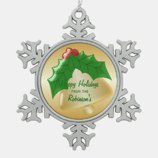 Personalized Gold Bell Holly Design Pewter Snowflake Decoration