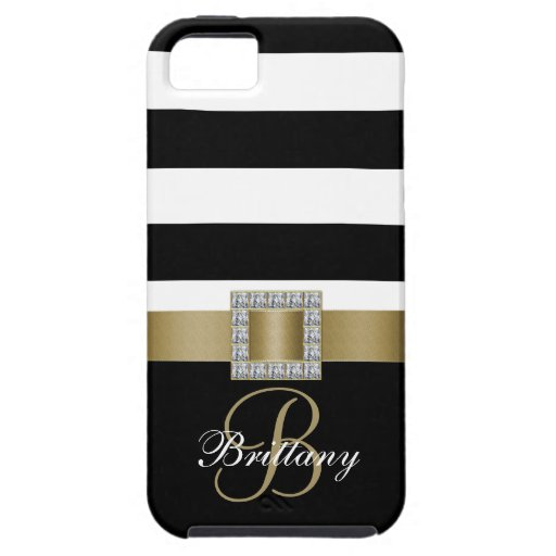 Personalized Gold, Black Bold Stripes Diamonds iPhone 5 Case