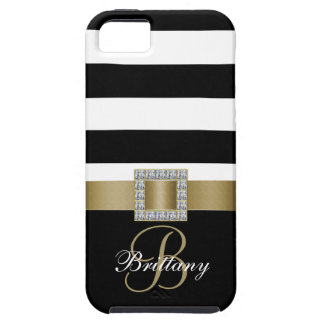 Personalized Gold, Black Bold Stripes Diamonds iPhone 5 Cover