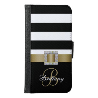 Personalized Gold, Black Bold Stripes Diamonds Samsung Galaxy S6 Wallet Case