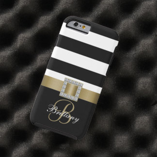 Personalized Gold, Black Bold Stripes Diamonds Tough iPhone 6 Case