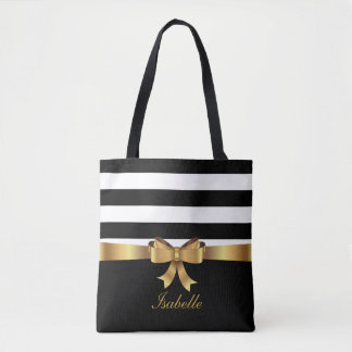 Personalized Gold, Black Bold Stripes ELEGANT BOW Tote Bag
