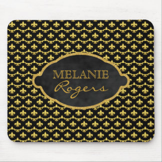 Personalized Gold Fleur de Lis | Monogrammed Name Mouse Mat