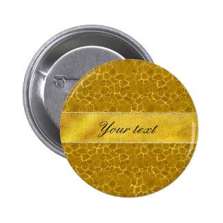 Personalized Gold Foil Giraffe Skin Pattern 6 Cm Round Badge