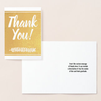 """Personalized Gold Foil """"Thank You!"""" Card"""