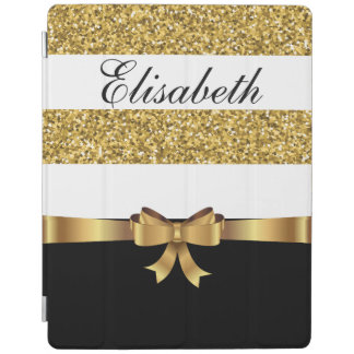 Personalized Gold glitter Black  white Stripes BOW iPad Cover