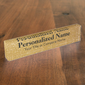 Personalized gold glitter desk nameplate