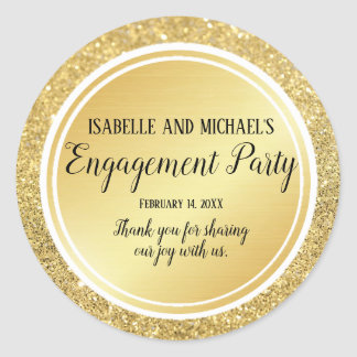 Personalized Gold Glitter Engagement Thank You Classic Round Sticker