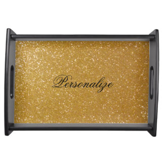 Personalized gold glitter wedding serving tray