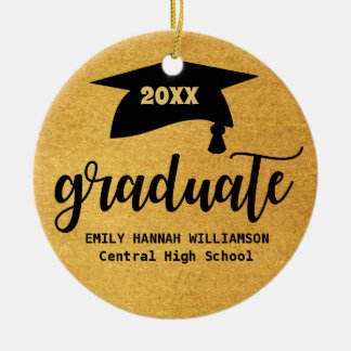 Personalized Gold Graduation Mortar Board Christmas Ornament