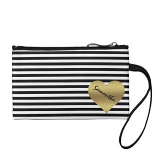 personalized gold heart black stripes coin purse