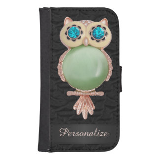 Personalized Gold & Jewels Owl Ruffled Silk Image Samsung S4 Wallet Case