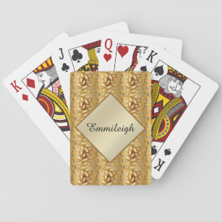 Personalized Gold Leaves Playing Cards