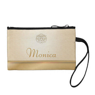 Personalized Gold Linen Printed Clutches Change Purses
