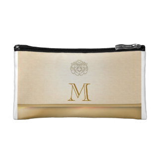 Personalized Gold Linen Printed Clutches Cosmetic Bag