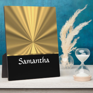 Personalized gold look and black plaque