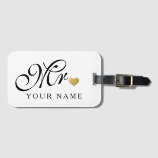 Personalized Gold Mr. Groom Husband Newlyweds Luggage Tag
