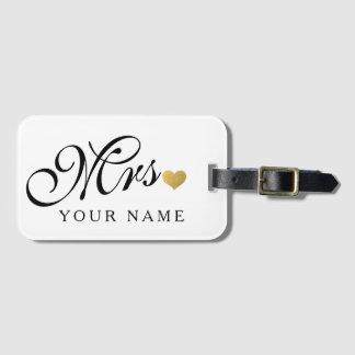 Personalized Gold Mrs. Wife Bride Newly Weds Luggage Tag
