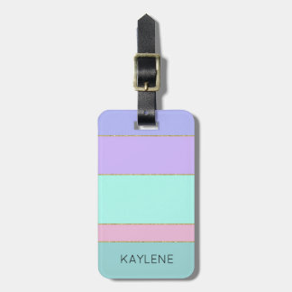 Personalized Gold Trim Color Stripes Luggage Tag
