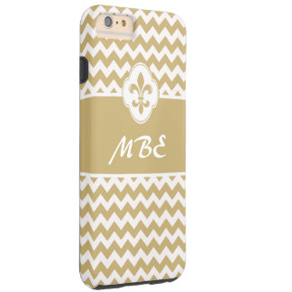 Personalized Gold White Fleur de Lis Chevron Tough iPhone 6 Plus Case