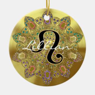 Personalized Gold Zodiac Sign Leo Mandala Christmas Ornament