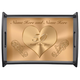 Personalized Golden Anniversary Gifts for Parents Service Tray