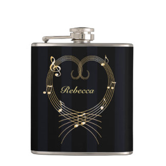 Personalized Golden Heart Musical Notes Hip Flask